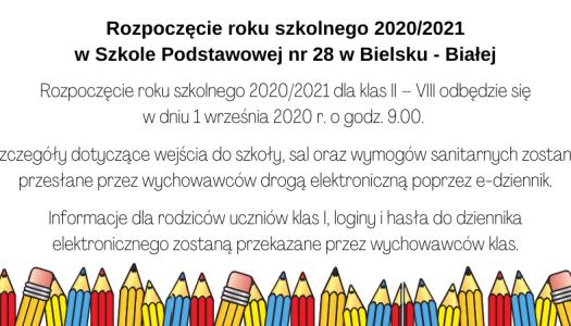 Obrazek newsa Rozpoczęcie roku szkolnego 2020/2021